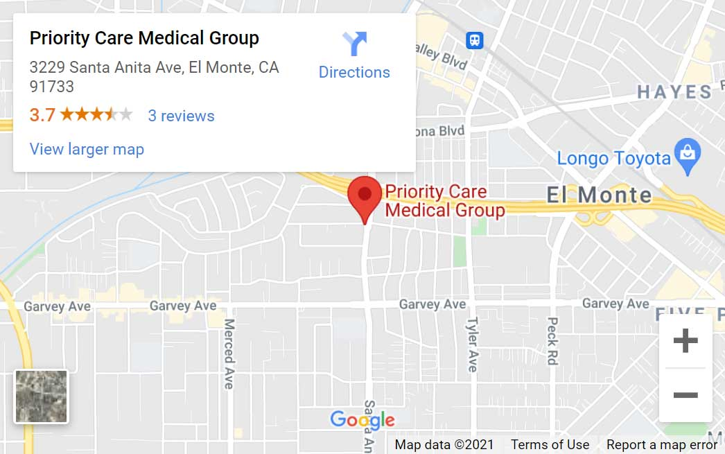 Map of Priority Care Medical Group in El Monte, CA