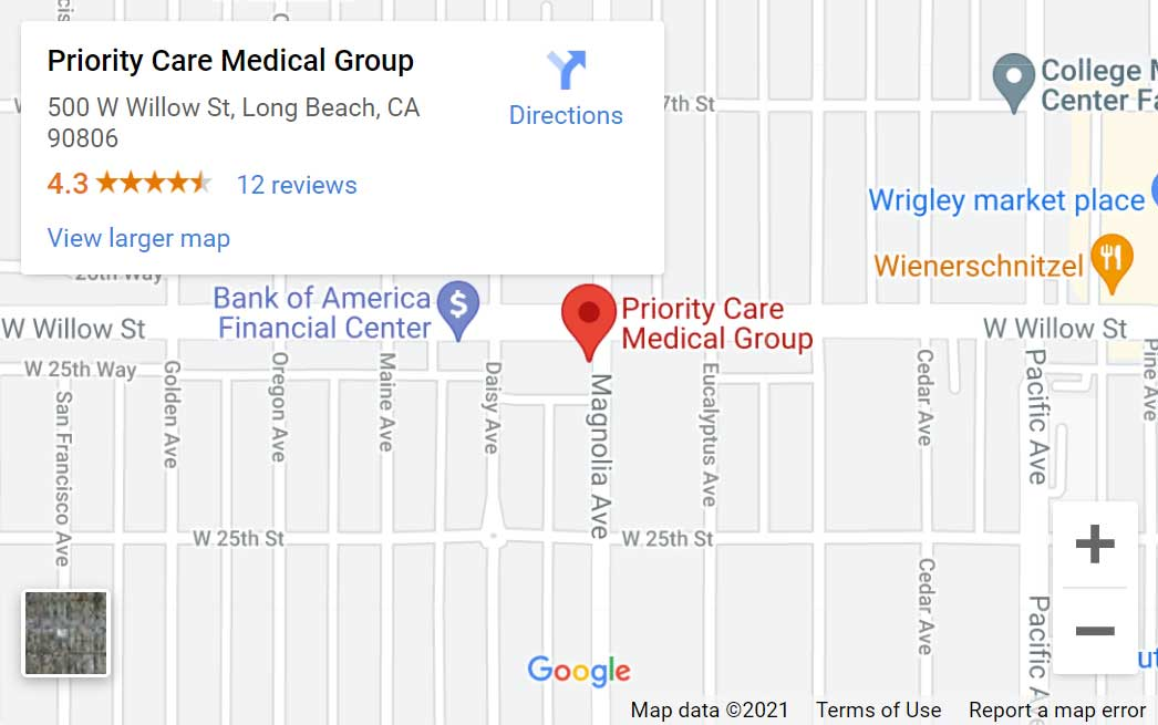 Map of Priority Care Medical Group in Long Beach, CA