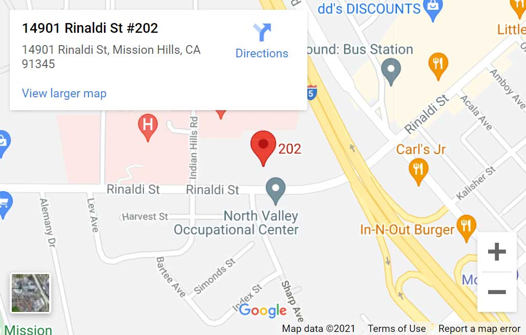 Map of Priority Care Medical Group in Mission Hills, CA