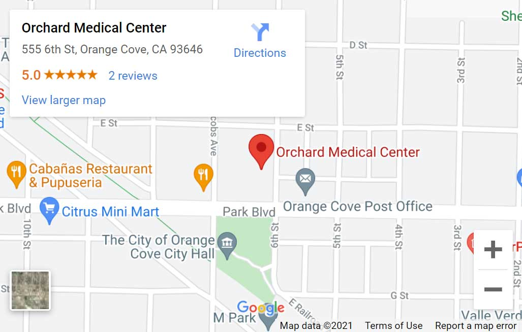 Map of Orchard Medical Center in Orange Cove, CA