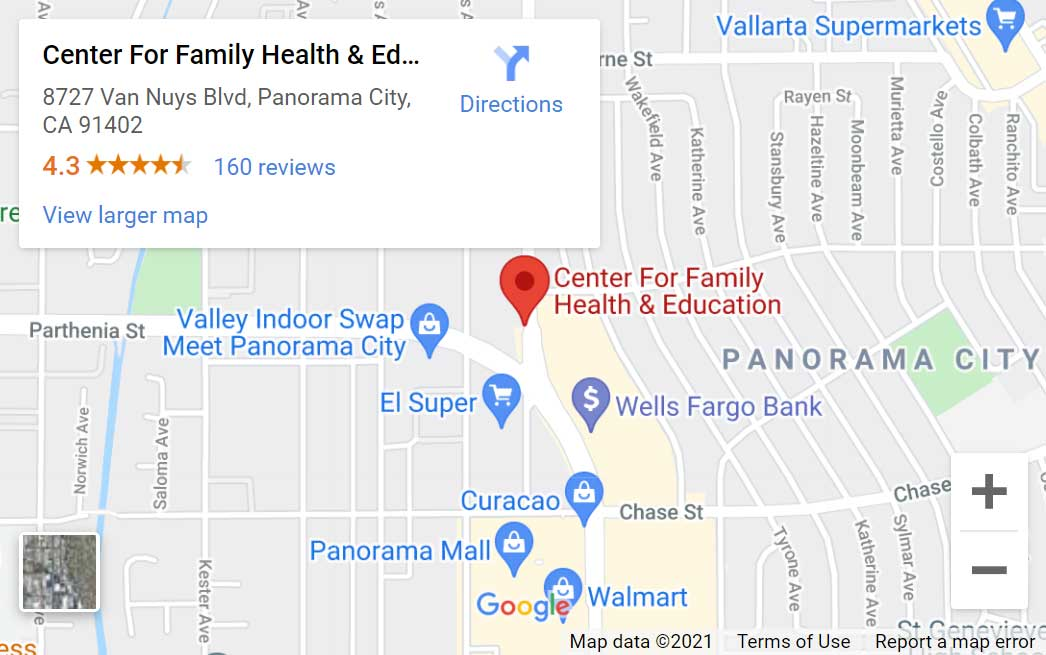 Map of Center for Family Health and Education in Panorama City, CA