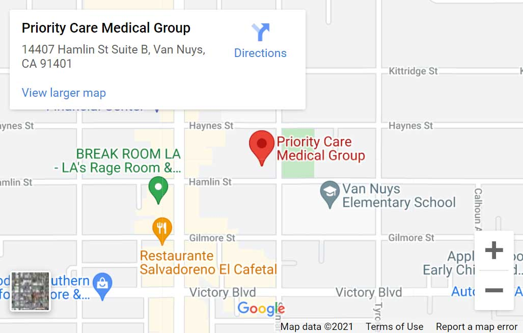 Map of Priority Care Medical Group in Van Nuys, CA
